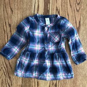 Carter's 2T Blue Pink Plaid Tunic Top